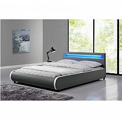 Manželská posteľ s RGB LED osvetlením, sivá, 160x200, DULCEA