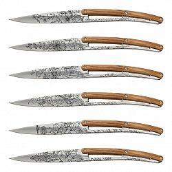 Sada steakových nožov Deejo mirror Blossom olive 6 ks