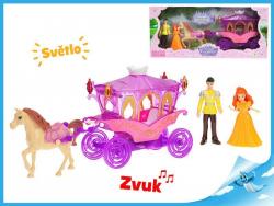MIKRO -  Kočiar s koňom 29cm s princeznou a princom 10cm na batérie so svetlom a zvukom 47233