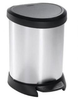 Strend Pro 2211242 Kôš Curver® DECO BIN 20L, strieborný/čierny, na odpad