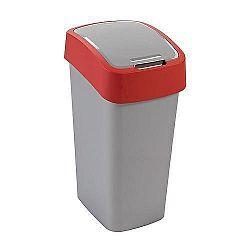Strend Pro 2211253 Kôš Curver® FLIP BIN 50L, šedostříbrná/červená, na odpadky