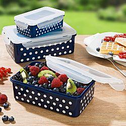 Magnet 3Pagen 6-dielna súprava dóz na uchovanie potravín, modrá-biela bodky modrá-biela