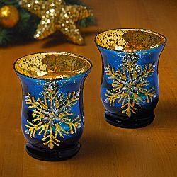Magnet 3Pagen Sklenený svietnik, modrá/zlatá