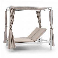 Blumfeldt Eremitage Double Sunbed, ležadlo pre 2 osoby, oceľový rám, slnečná strieška, závesy, krémové