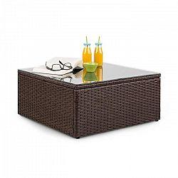 Blumfeldt Theia, odkladací stolík, polyratan, sklenená doska, hnedý