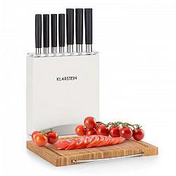 Klarstein Kitano Plus, sada nožov, 9-dielna sada, drevený stojan, bambusová krájacia doska, biela