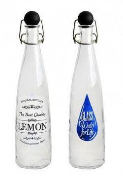 TORO Fľaša sklenená s uzáverom, potlač, 750 ml