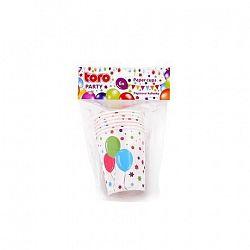 TORO Papierový party téglik 220ml TORO 6ks, balóniky