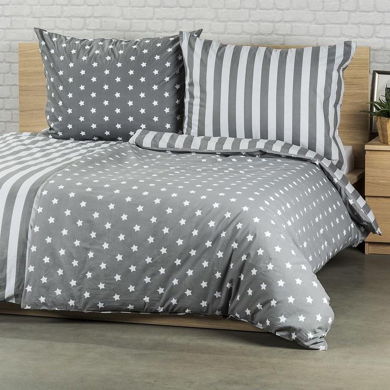 4Home Bavlnené obliečky Stars sivá, 140 x 220 cm, 70 x 90 cm