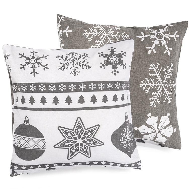 4Home Obliečka na vankúšik Christmas Time sivá flanel, 40 x 40 cm