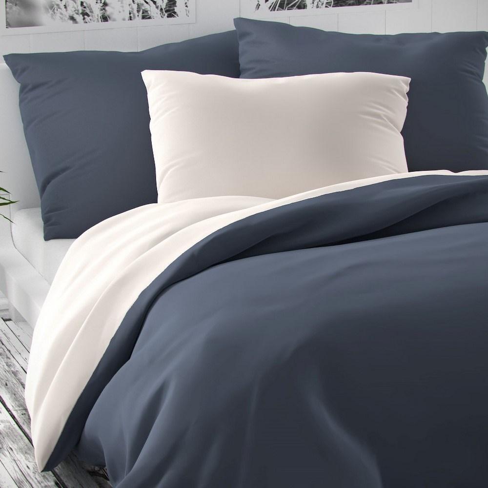 Kvalitex Saténové obliečky Luxury Collection biela/tmavosivá, 140 x 220 cm, 70 x 90 cm