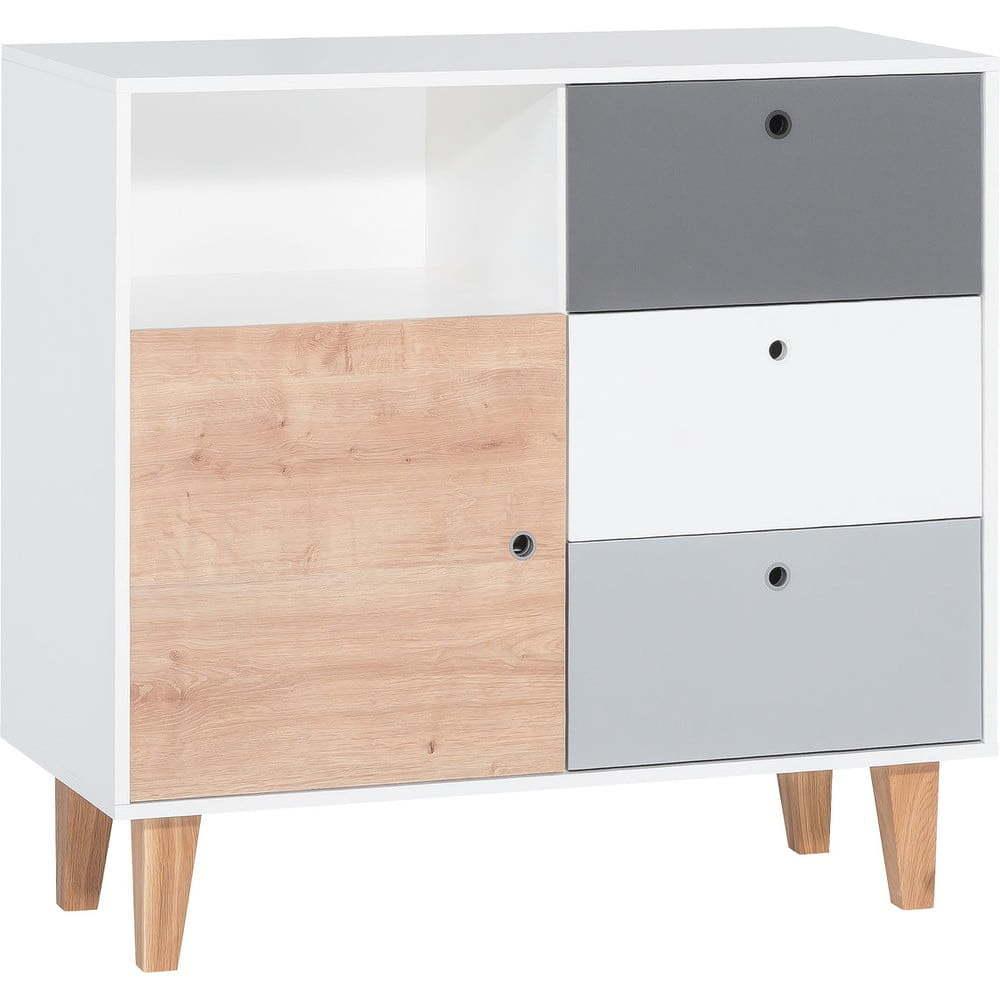 Bielo-sivá komoda s dreveným detailom Vox Concept