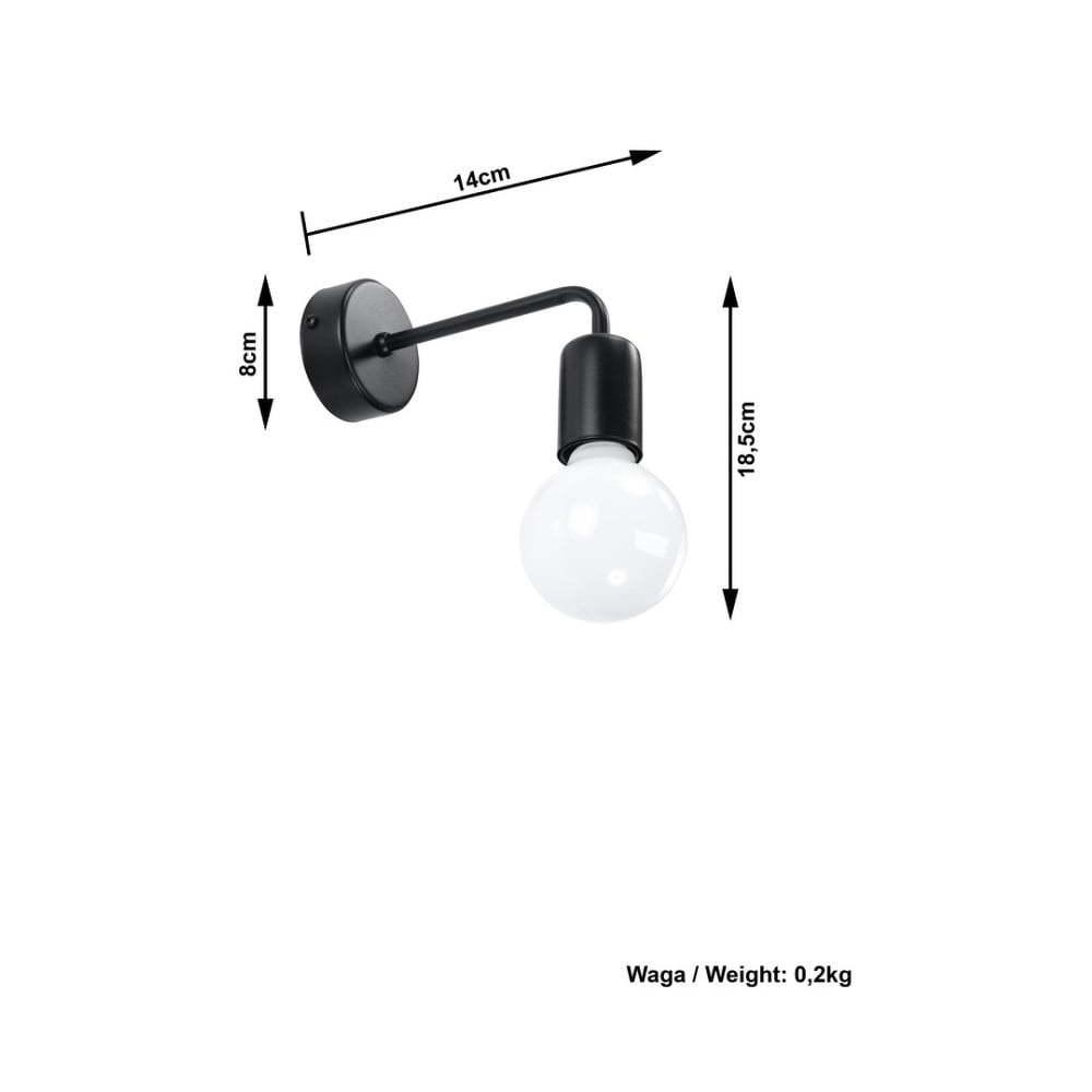 Čierne nástenné svietidlo Nice Lamps Donato