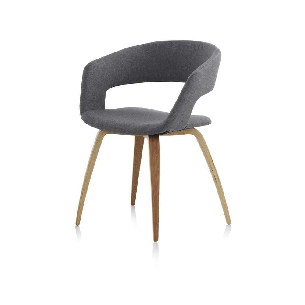 Drevená jedálenská stolička so sivým čalúnením Geese