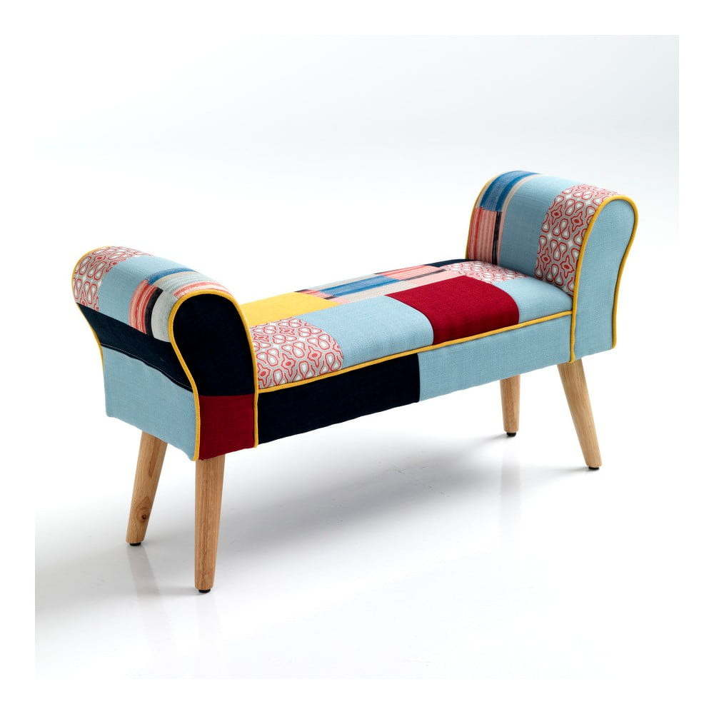 Farebná lavica s nohami z dubového dreva Tomasucci Kaleidos