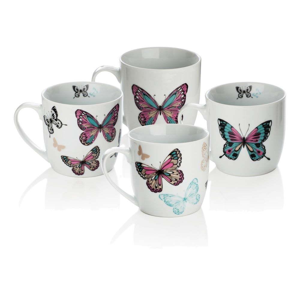 Sada 4 porcelánových hrnčekov Sabichi Mariposa,0 ml