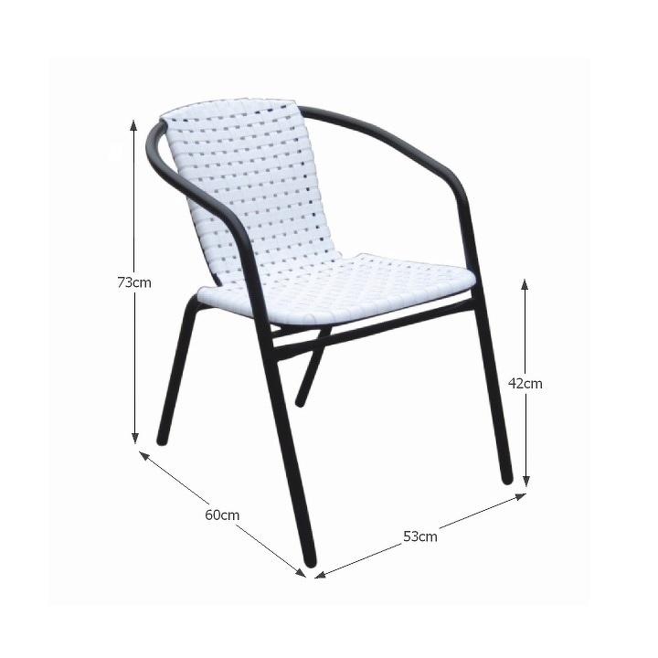 Záhradná stolička, biela/čierna, BERGOLA
