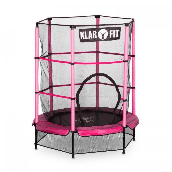 Klarfit Rocketkid, 140 cm trampolína, vnútorná bezpečnostná sieť, bungee pružiny, ružová